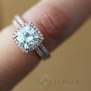 2 TCW White Moissanite Halo Ring / Made to Order